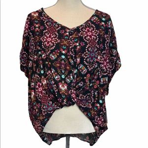 Love On A Hanger High Low Knot Floral Top Size S